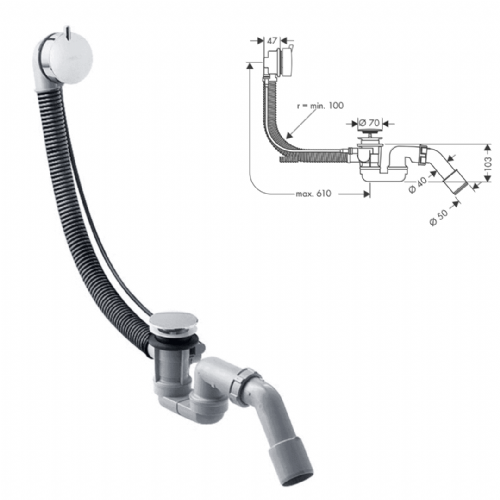 Hansgrohe Flexaplus S Bath Waste & Overflow Set In Brushed Chrome - Model 58150260